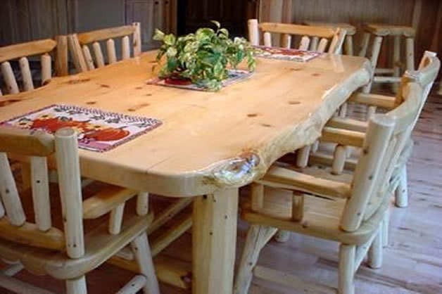Rustic Log Dining & Game Roon Table Sets